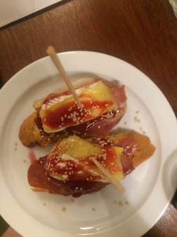 Jamon & brie with raspberry pincho, Gastarea, Barcelona